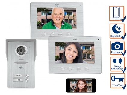 IP Türsprechanlage mit Kamera und Monitor - Video Türklingel für 2 Familienhaus