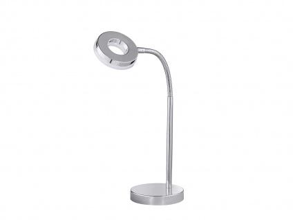 Schöne LED Schreibtischlampe mit Flexarm in Chrom glänzend Tischleuchte für Büro