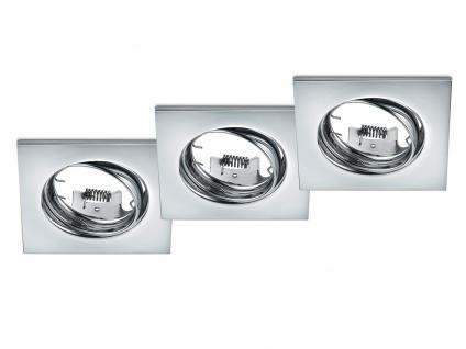 3 Einbaustrahler Decke eckig schwenkbar Chrom glänzend GU10 LED Deckenleuchten