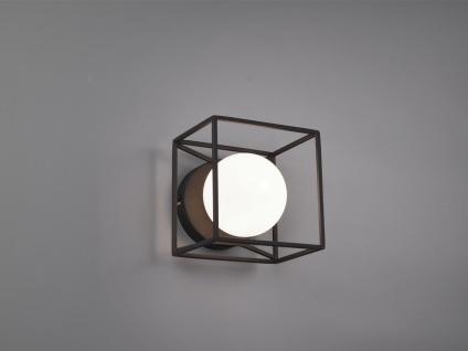 Industrie Design Wandleuchte aus Metall eckig mit runder Glas Kugel in weiß