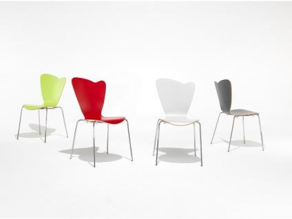 4er Design Stuhl HEART Stapelstuhl Esszimmerstuhl Bistrostuhl Schalenstuhl - Vorschau 4