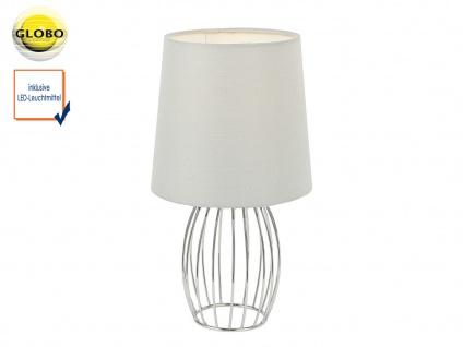 Design Tischleuchte modern mit LED Textilschirm grau Tischlampe Wohnzimmer Flur