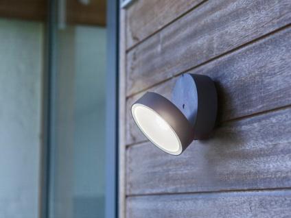 Runde LED Außenwandleuchte mit 90° schwenkbarem Kopf ALU in Anthrazit 15cm? groß