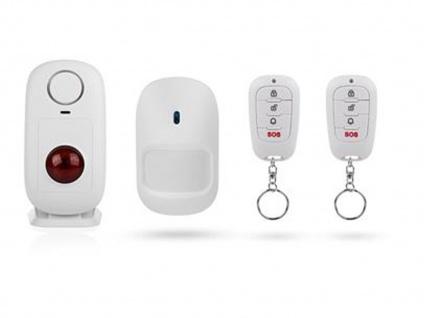 Drahtlos Bewegungsmelder mit 2x Fernbedienung & Stand-Alone Alarm, Zutrittskolle