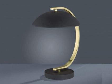 LED Tischleuchte Retro Design 1 flammig Metall Schwarz / Messing Höhe 35cm Ø25cm