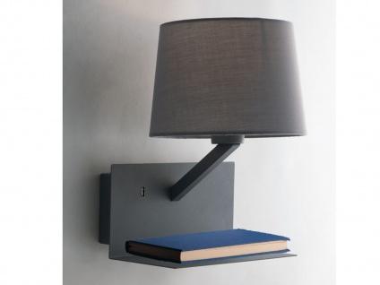 Wandlampe Grau mit Stoff Lampenschirm, USB Lampe mit Handy Ladefunktion & Ablage