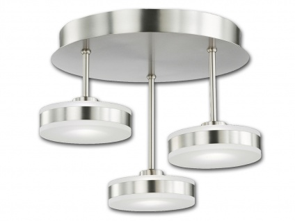 3-flammige LED Deckenleuchte dimmbar Ø 34 cm Nickel matt Acrylglas weiß Lampen