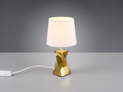 Kleine Keramik Tischleuchte in gold/weiß mit Stoffschirm Ø15cm Höhe 28, 5cm