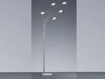 190cm hohe Standleuchte Silber glänzend 5 flammig mit Marmorfuß für Wohnzimmer