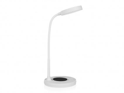 LED Tischleuchte mit schwenkbarem Lichtkopf, Touchdimmer & QI-Geräte Aufladung