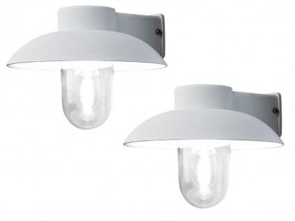 2er Set weiße Aluminium Außenwandleuchte, E27, klares Glas, IP44, Konstsmide