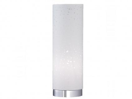 Kleine Tischlampe E14 Chrom mit Lampenschirm Stoff weiß, Nachttischlampe Design