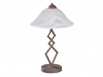 Landhaus Tischleuchte mit E27 LED, Wohnzimmerlampe antik Lampenschirm Glas weiß