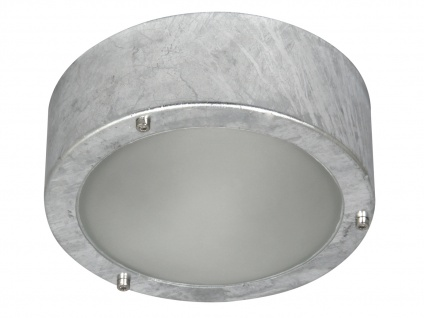 Verzinkte Wand-/Deckenleuchte, Milchglas-Einsatz, E27 60W, Innenbereiche
