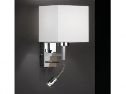Wandleuchte eckig mit LED Leseleuchte & Lampenschirm Stoff Weiß, Wandlampe klein