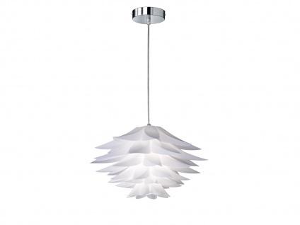 Florale Pendelleuchte Ø50cm 1 flammig Chrom, Lampenschirm Blätterdesign in Weiß