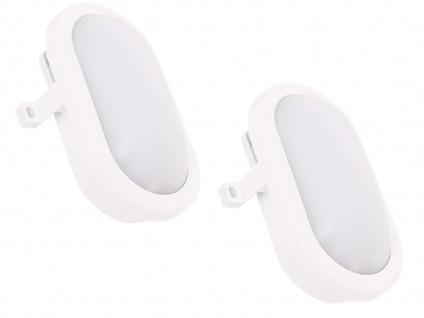 2er Set LED Außenwandleuchten oval weiß mit Bewegungsmelder, Kellerlampen