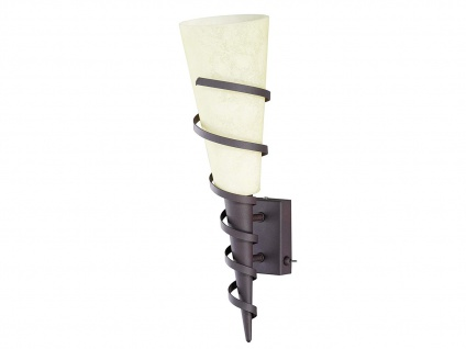 Antike LED Wandlampe mit Schalter Rostoptik & Glas Kolonialstil fürs Wohnzimmer