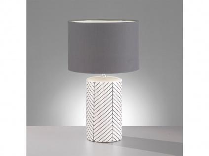Tischleuchte Keramik weiß schwarz mit LED Stoffschirm grau, Wohnzimmerlampe 50cm