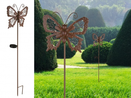 LED Solar Wegeleuchte für Außen Schmetterling Gartendeko mit Erdspieß & Schalter
