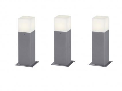 LED Sockelleuchte in Hell Grau 30cm - 3er Set Terrassenbeleuchtung Wegeleuchten - Vorschau 2