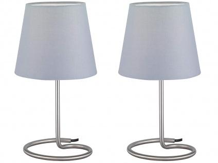 LED Tischleuchten 2er SET Silber Stoffschirm Grau Ø18cm H. 33cm Nachttischlampen