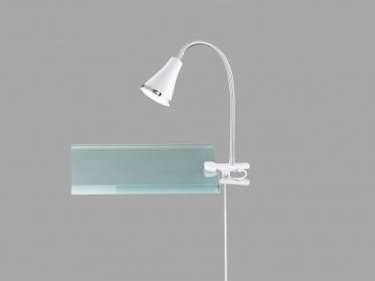 LED Klemmleuchte flexibel Schwanenhalslampe in weiß Schreibtischlampe Leselampe