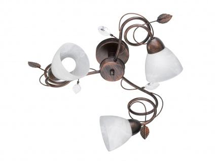 3 fl. Antik Look Deckenlampe aus Metall mit Blätter Design & Glasschirme, Rost