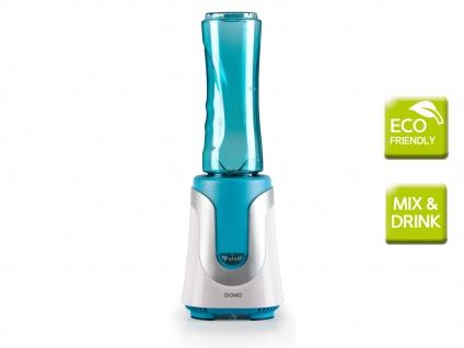 DOMO Smoothie Maker blau, 300W, inkl. 2 Flaschen Smoothie Stand Mixer Blender