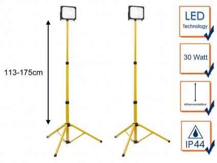 2er Set 30Watt LED Baustrahler mit Stativ - Arbeitsscheinwerfer Baustellenlampen