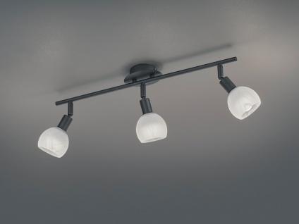 Moderner Deckenstrahler 3 flammig Schwarz mit Alabaster Lampenschirm schwenkbar