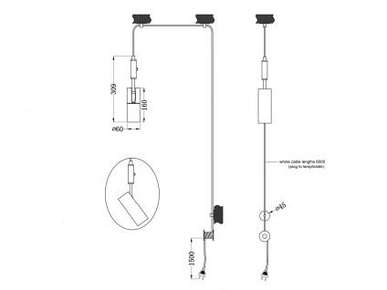 Hängelampe Schwarz matt mit Kabel & Stecker für Steckdose - Spot schwenkbar - Vorschau 4