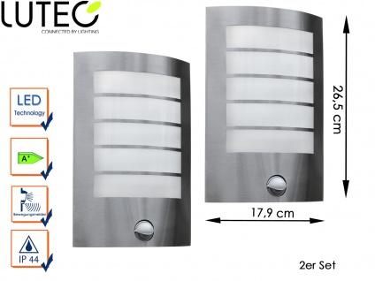 2er Set Edelstahl Außenwandleuchte Bewegungsmelder LED Wandleuchte Radius 90°