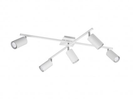 Deckenstrahler mit 5 Spots für Wohnzimmer, Schlafzimmer & Küche aus weißem Metall - Vorschau 2