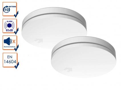2er Set ultraflache optische Rauchwarnmelder mit 10 Jahres Batterie & Nachtmodus