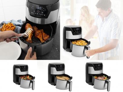 Edelstahl XXL Heißluftfritteuse Umluft Friteuse Pommes ohne Öl 4, 5L 1500Watt - Vorschau 4
