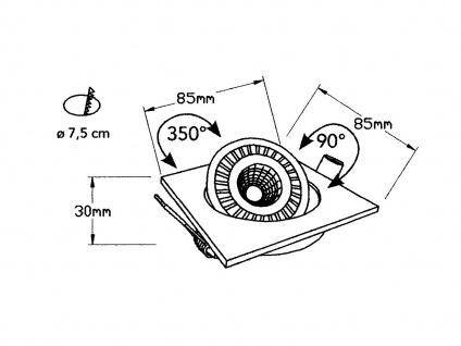 LED Einbaustrahler 3W Spot schwenkbar weiß Deckenstrahler Einbauleuchte Leuchte - Vorschau 4