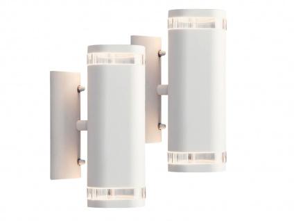 2er-Set Aluminium Up-Down Wandleuchte weiß GU10 H. 23, 5cm Fassadenbeleuchtung