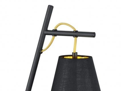 Coole Tischleuchte 50cm mit Stoff Lampenschirm höhenverstellbar in schwarz/gold - Vorschau 3