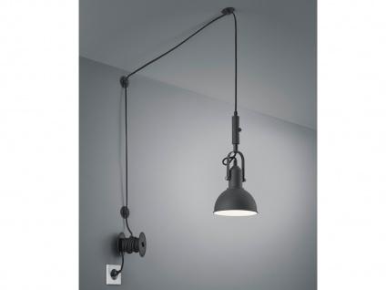 Schwarz matte Pendellampe mit Kabel & Stecker für Steckdose - Schirm schwenkbar