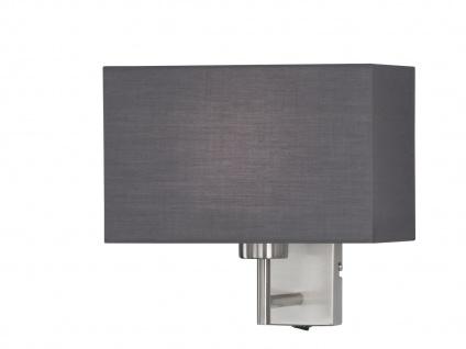 LED Wandleuchte mit Schalter, Nickel matt Schirm eckig grau, Wohnraumleuchten