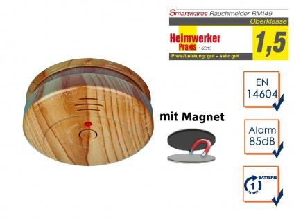 Rauchwarnmelder SET Holzoptik mit EASY Magnetmontage, Feuer Brand Melder Alarm