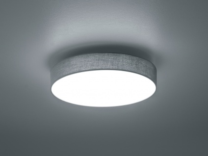 Trio LED Deckenleuchte dimmbar LUGANO 40cm Stoffschirm grau, Lampe Flur Wohnraum