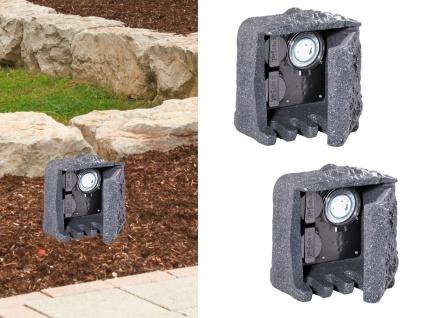 Außensteckdosen Steinoptik 2 fach mit Zeitschaltuhr 2er Set Gartensteckdosen