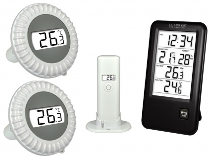 Pool Thermometerset für Wassertemperatur + Innen-/ Außentemperatur + Hygrometer