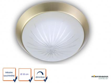 LED Deckenlampe Schliffglas Messing matt Flurlampe Dielenlampe Ø35cm Kellerlampe