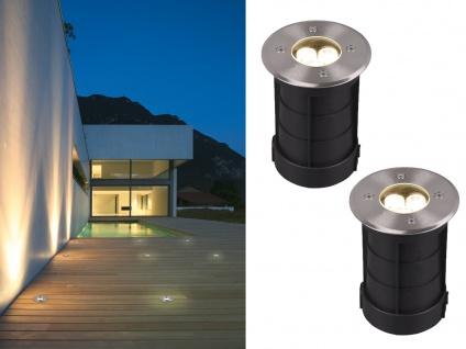 LED Bodeneinbauspot 2er Set rund Edelstahl Ø11cm Bodenstrahler Einfahrt Terrasse