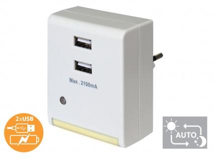LED Nachtlicht mit 2-fach USB Ladebuchse, helles, warm weißes Licht, GAO