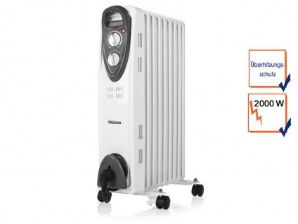 2000W Elektroheizung mit Rollen & Thermostat, Ölradiator Raumheizung Heizgerät