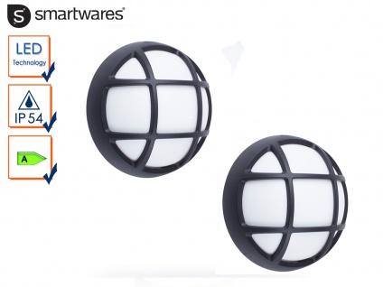 2er Set LED Außenleuchten / Kellerleuchten schwarz für Wand und Decke, Ø 17cm